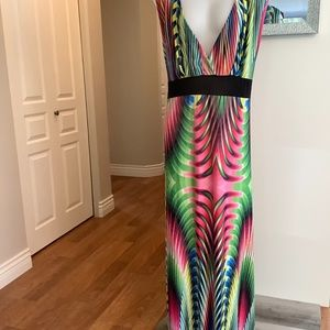 Colorful Sleeveless Maxi Dress Size 7X.